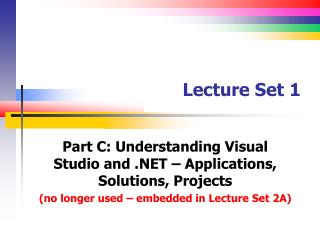 Lecture Set 1