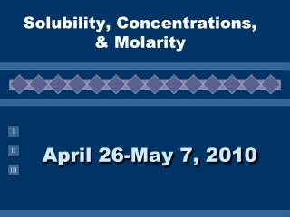Solubility, Concentrations, &  Molarity