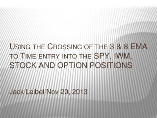 Using the Crossing of the 3 & 8 EMA to Time entry into the SPY, IWM, STOCK AND OPTION POSITIONS