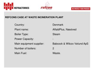 REFCONS CASE AT  WASTE INCINERATION  PLANT  Country :			 Denmark