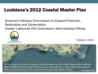 Louisiana's 2012 Coastal Master Plan