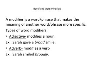 Identifying Word Modifiers