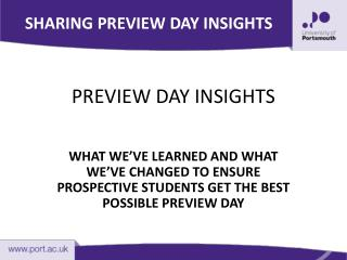 PREVIEW DAY INSIGHTS