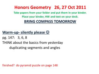 Honors Geometry   26, 27 Oct 2011