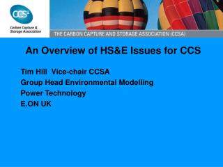 An Overview of HS&E Issues for CCS