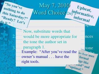 May 7, 2010 Word Choice  Day 2