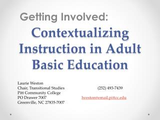 Contextualizing  Instruction in Adult Basic Education