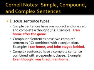 Cornell Notes:  Simple, Compound, and Complex Sentences