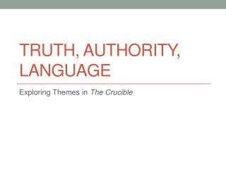 Truth, authority, language