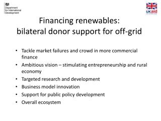 Financing renewables:  bilateral donor support for off-grid