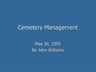 Cemetery Management