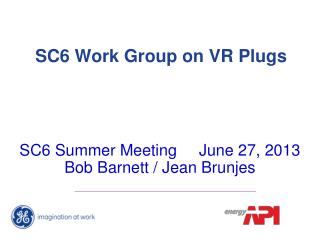 SC6 Work Group on VR Plugs