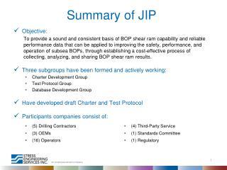 Summary of JIP