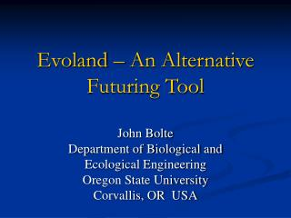 Evoland   An Alternative Futuring Tool