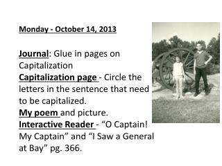 Tuesday – October 15, 2013