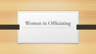 Women in Officiating