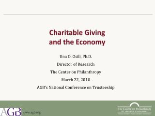 Charitable Giving  and the  Economy