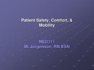 NEO111 M. Jorgenson, RN BSN