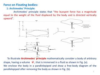 Force  on Floating bodies:      1 : Archimedes' Principle: