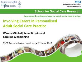 Involving Carers in Personalised  Adult Social Care Practice