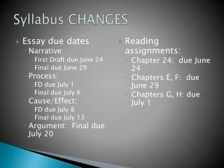 Syllabus CHANGES