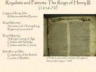 Royalists and Patriots: The Reign of Henry III (1216-72)
