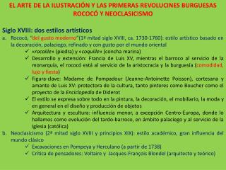 EL ARTE DE LA ILUSTRACIÓN Y LAS PRIMERAS REVOLUCINES BURGUESAS  ROCOCÓ Y NEOCLASICISMO