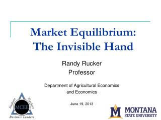 Market Equilibrium:   The Invisible Hand
