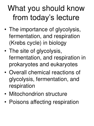 Glycolysis I
