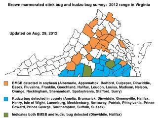 Brown marmorated stink  bug and k udzu bug survey:  2012 range in Virginia