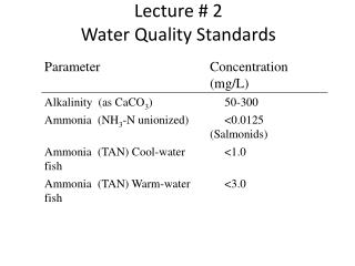 Lecture # 2 Water  Quality Standards