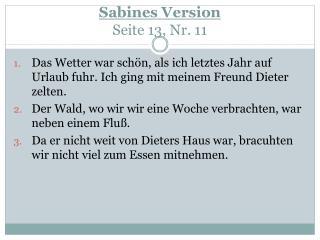 Sabines  Version Seite  13, Nr. 11