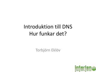 Introduktion  till DNS Hur funkar det ?