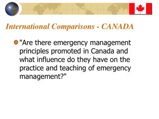 International Comparisons - CANADA