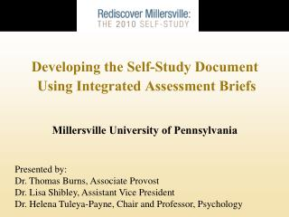 Developing the Self-Study Document  Using Integrated Assessment Briefs