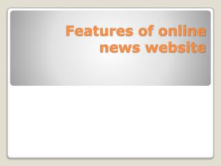 Features of online news website
