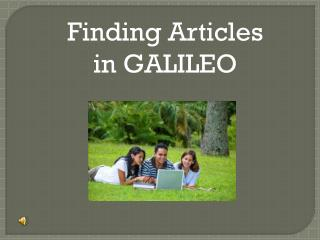 Finding Articles in GALILEO