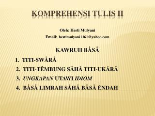 KOMPREHENSI TULIS II