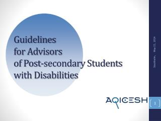 Guidelines  for Advisors  of Post-secondary Students  with Disabilities