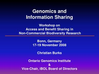 Genomics and  Information Sharing