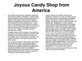 Joyous Candy Shop from America