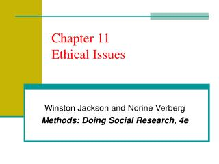Chapter 11 Ethical Issues