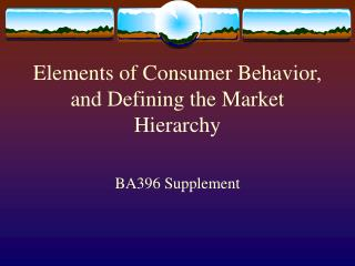 Elements of Consumer Behavior, and Defining the Market Hierarchy