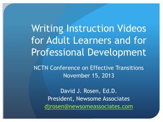 Writing Instruction Videos for Adult Learners and for Professional Development