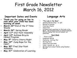 First Grade Newsletter March  16,  2012