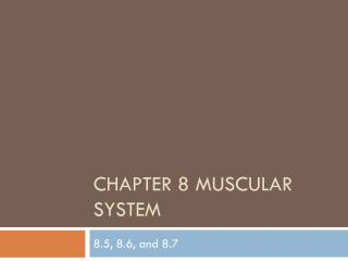 Chapter  8 Muscular system