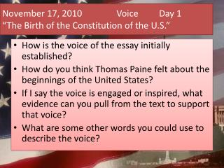 "November 17, 2010		 Voice 	Day 1 ""The Birth of the Constitution of the U.S."""