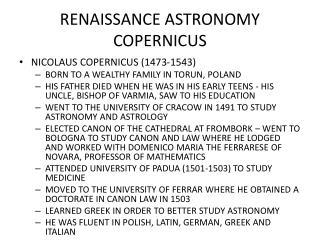 RENAISSANCE ASTRONOMY COPERNICUS