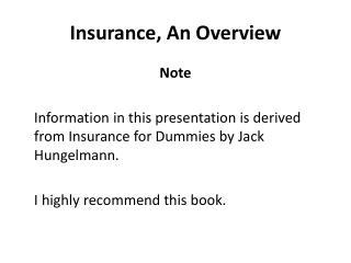 Insurance, An Overview