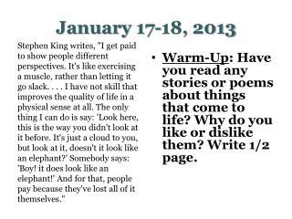 January 17-18, 2013